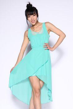 Mint Hi-Lo Cutout Dress with Peter Pan Collar & Lace Up Back