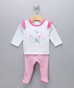 Absorba - Pink Kitty Stripe Top & Footie Pants