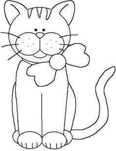 Risultati immagini per desenhos de gatos para patch aplique Applique Templates, Applique Patterns, Applique Quilts, Applique Designs, Quilt Patterns, Embroidery Designs, Cat Crafts, Sewing Crafts, Colouring Pages