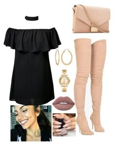 """nude legs"" by bbylex23 ❤ liked on Polyvore featuring Balmain, Michael Kors, Fragments, Lime Crime and Whistles"