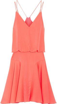 Milly Neon stretch-silk mini dress