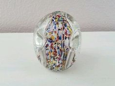Vintage Lead Glass Paperweight/Pen Holder Crystal Controlled Bubbles Possible Mu