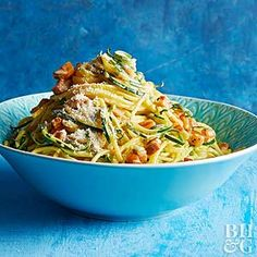 Mix zucchini noodles and regular spaghetti for a pasta recipe that's light, fresh, and filling all at once.