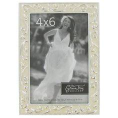 "4"" x 6"" Ivory Pearl Photo Frame with Swirls"