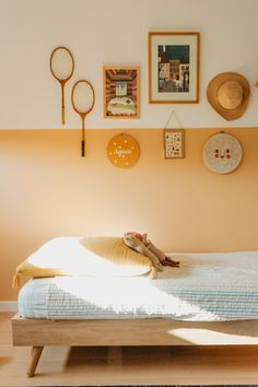 Organization Bedroom Wall - Yasmine Boheas Toulouse Home Tour, South Of France Style. Orange Bedroom Walls, Orange Room Decor, Tangerine Bedroom, Peach Bedroom, Orange Walls, White Bedroom, Orange Kids Rooms, Kids Bedroom Organization, Organization Ideas