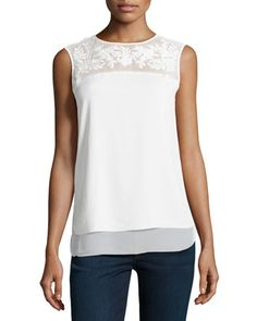 Leaf+Embroidered+Half+Sheer+Top,+Ivory+by+Cooper+&+Ella+at+Neiman+Marcus+Last+Call.