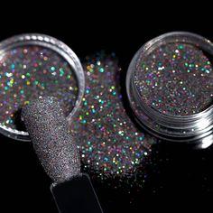2g Holografische Kleurrijke Laser Zwart Glitter Poeder Shining Suiker Glitter Dust Pigment Manicure Nail Art Tips Decoratie 8005