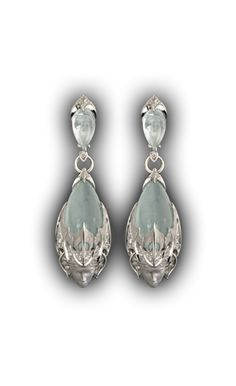 Magerit - Atlantis Collection: Earrings Sirena Espuma - White gold 18kt, diamonds and aquamarine