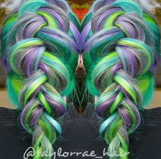 Green purple braided dyed hair color. I would never do it, but it's awesome.