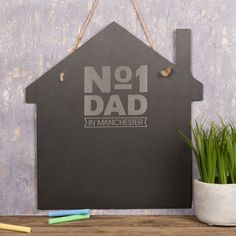 Personalised Large House Slate Chalkboard - No.1 Dad   GettingPersonal.co.uk