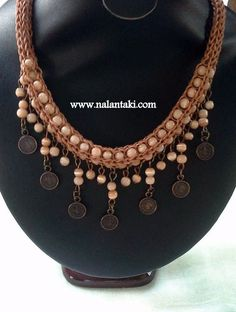 Crochet Necklace, Beaded Necklace, Gold Necklace, Handmade Beads, Pearl Beads, Textiles, Beaded Jewelry, Glass Beads, Jewelery