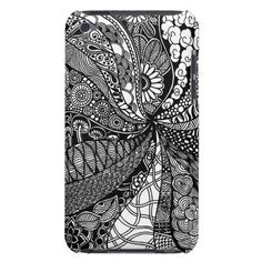A unique Gardens #6 hand drawn art iPod case Barely There iPod Case