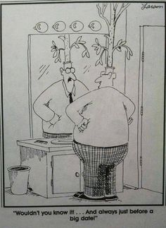 """""""The Far Side"""" by Gary Larson. Should have warned him that hair growth formula is not the same as garden fertilizer. Murphys Law"""
