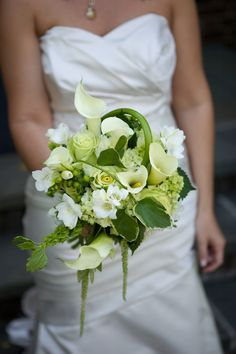 White & Green   Bouquet with Swirling Calla Lillies