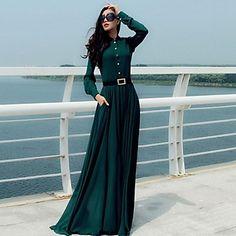 Women's Vintage Long Sleeve Full Length Dress
