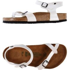 Birkenstock Thong Sandal ($48) ❤ liked on Polyvore featuring shoes, sandals, white, round cap, toe post sandals, white sandals, white shoes and toe thong sandals