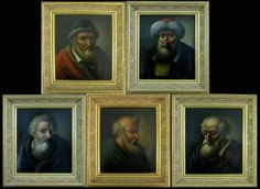 AT AUCTION - JAN. 31, 2016: 5 OIL ON BOARD OLD MASTER PANELS OF PROPHETS