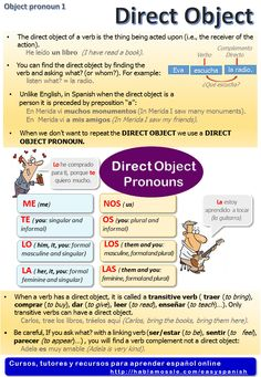 Spanish grammar, direct object pronouns