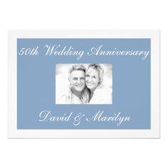 Modern Blue 50th Wedding Anniversary Invitations
