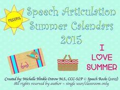 Free! Summer speech articulation calendar