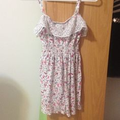 Lace and Floral Dress Lace and Floral Dress. The material is a stretchy cotton and lace. Decree Dresses Mini