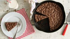 Double Chocolate Skillet Cookie  - Everyday Food with Sarah Carey --dairy free/egg free substitutions (allergies) coconut oil for the butter, flax 'egg' (1 T freshly ground flax seeds + 3 T warm water).