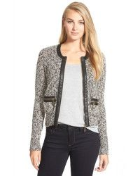 Ivanka Trump Knit Faux Leather Trimmed Jacket