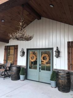 *doors are Sherwin Williams Retreat, in matte finish Pole Barn House Plans, Pole Barn Homes, Dream House Plans, My Dream Home, Steel Building Homes, Building A House, Morton Building, Shed Homes, Loft
