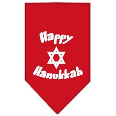 Happy Hanukkah Screen Print Bandana Red Large