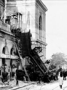 On 22 October, 1895, the Granville-Paris Express rail engine 120-721 failed to stop at the platform at Gare Montparnasse and overran the buffer stop. The engine careened across almost 100 feet of t...