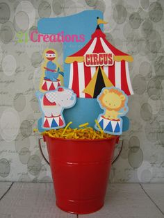 Circus theme birthday centerpiece.