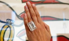 The 100.20-carat diamond ring at a pre-auction viewing in Los Angeles last month. It fetched $22,090,000 in New York on Tuesday night.