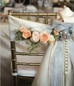 Bride's chair decorated with garden roses and cascading pearls. romantic, vintage, wedding flowers- I would like this look and style as the overall feel of my wedding! Wedding Chair Decorations, Wedding Chairs, Wedding Centerpieces, Decor Wedding, Flower Decorations, Wedding Designs, Wedding Styles, Our Wedding, Dream Wedding