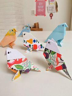 origami facile -enfants-perroquets-multicolores