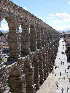 The aqueducts of Segovia, Spain.