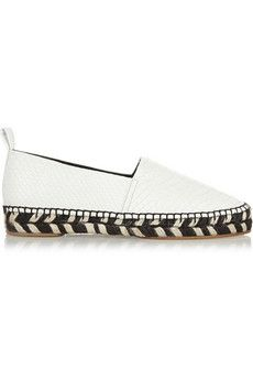 White snake and zebra-like trim. Espadrilles have gone upscale! Proenza Schouler $850 | #NET-A-PORTER