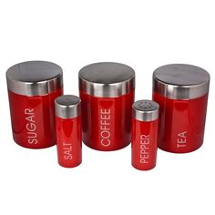 Red kitchen storage jars | eBay UK