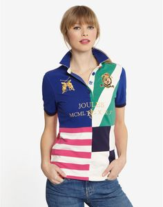 Dkblue Elvia Womens Hotchpotch Polo | Joules UK