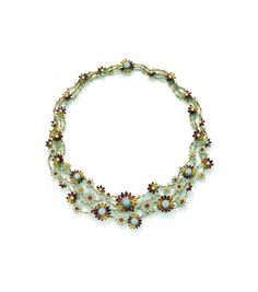 This necklace from Ganjam's Gerbera collection, set with diamonds, rubies and sapphires and inspired by the Gerbera flower, was also part of the jewellery exhibition.