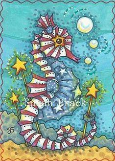 Art 'STARS N' STRIPES SEAHORSE' - by Susan Brack from AMERICANA PATRIOTIC