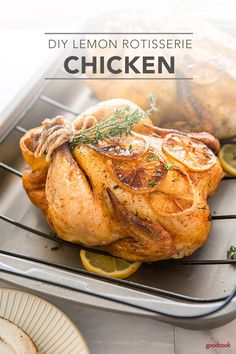 A meal-prep essential! Cook this DIY Lemon Rotisserie Chicken on the weekend and enjoy all week in recipes like enchiladas, salads, casseroles or soups. Rotisserie Chicken Seasoning, Stuffed Whole Chicken, Yum Yum Chicken, Lemon Chicken, Fun Cooking, Low Carb Recipes, Entrees, Meal Prep, Meal Planning