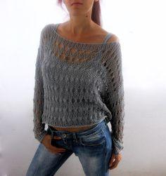 Sweater de verano de algodón en color gris, tejido a mano, respetuoso del medio ambiente