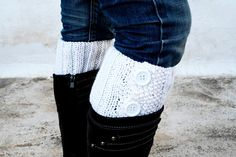 White Boot Toppers,White Boot Cuffs,Clasp White Button,Knit Boot