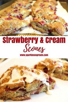 Strawberry & Cream scones are the perfect breakfast (or afternoon) treat.  They are quick to make and are loaded with strawberries...making them a perfect summer treat. . #strawberries #scones #breakfast #recipe #summer #berries #sparklesnsprouts