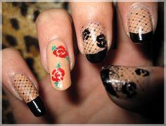 Rockabilly Nails; Plate: Konad m71, hand painted flowers.