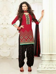 Red Banarasi Chanderi Suit With Resham And Zari Embroidery Work