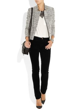 simple casual chic; black pants; blazer; shirt; statement necklace