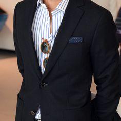 blazer and stripped shirt