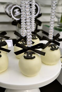 Gorgeous cake pops at a Black & White Chanel theme Birthday Party! See more party ideas at CatchMyParty.com!
