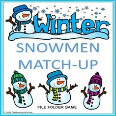 This is a resource for pre-k, students with developmental delays or on the autism spectrum. Snowmen Match-Up File Folder Game is a game of matching identical pictures. It can be used in a small group activity or during center time as an independent activity.